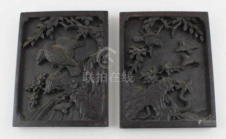 A pair of Japanese Meiji period carved wooden panels (2)