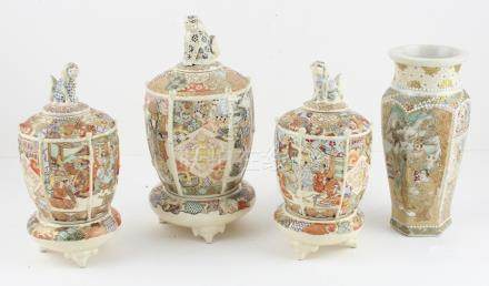 Four piece garniture set of late 19th/ early 20th century Meiji period Kyoto koros on stands with