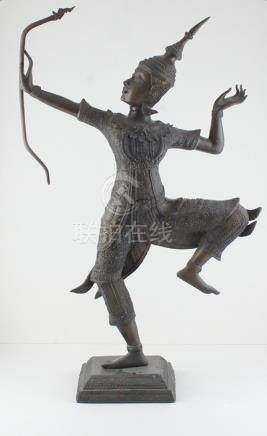 An early 20th century brass Thai figure of an archer
