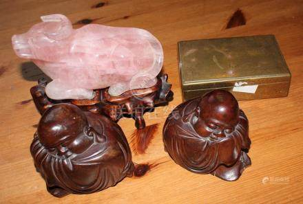 A collection of Chinese items including Rose quartz buufallo and Buddha