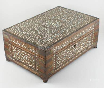 An early 20th cent Anglo Indian hard wood ivory inlaid box