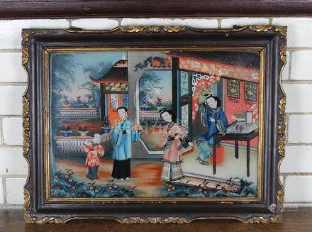 19th Chinese School - A reverse painted on glass painting depicting three figures on a verandah,