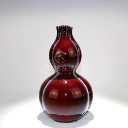 A Chinese Flambe-Glazed Double Gourd Porcelain Vase