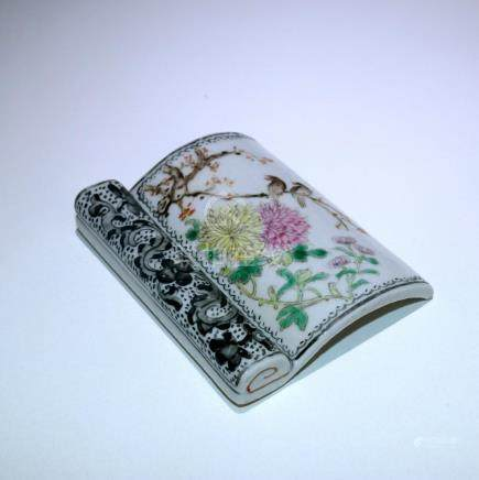 A Chinese Famille-Rose Porcelain Arm Rest