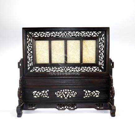 A Chinese Carved Jade Table Screen