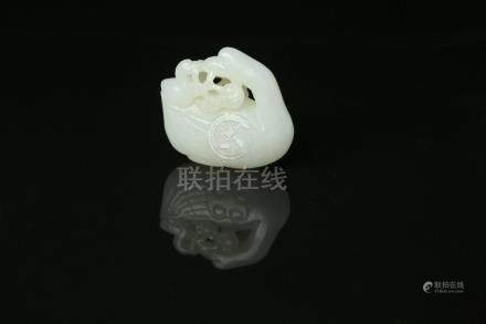 A Chinese Carved Jade Goose