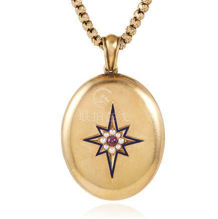 AN ANTIQUE GARNET, PEARL AND ENAMEL LOCKET in high carat yellow gold, set with a cabochon garnet,
