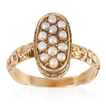 AN ANTIQUE PEARL POISON / LOCKET RING, 19TH CENTURY in high carat yellow gold, the oval face with