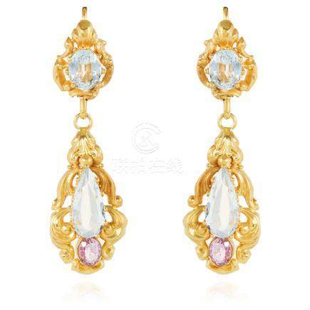 A PAIR OF ANTIQUE AQUAMARINE AND TOPAZ EARRINGS in high carat yellow gold, each set with an oval and