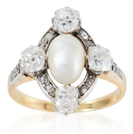AN ANTIQUE PEARL AND DIAMOND RING in high carat yellow gold, set with a central pearl in a border of