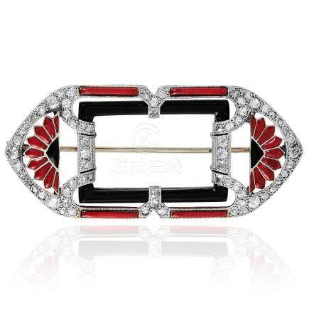 AN ART DECO DIAMOND, ONYX AND ENAMEL BROOCH in white gold or platinum, in Art Deco design,