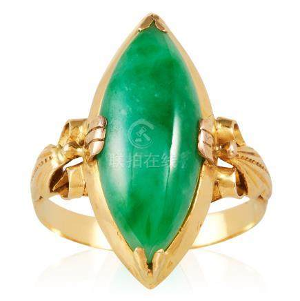 A JADEITE JADE DRESS RING in high carat yellow gold, set with a marquise shaped jade cabochon,