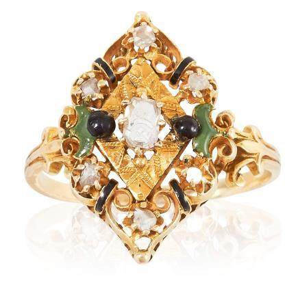 AN ANTIQUE DIAMOND AND ENAMEL RING in high carat yellow gold, the marquise face with scrolling
