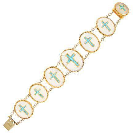 AN ANTIQUE TURQUOISE AND CHALCEDONY BRACELET, 19TH CENTURY in high carat yellow gold, comprising