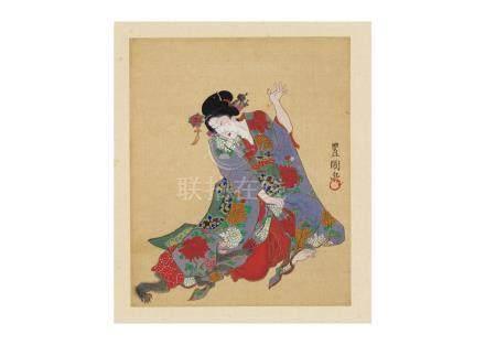 三代 歌川 豊国與猴嬉戲美人