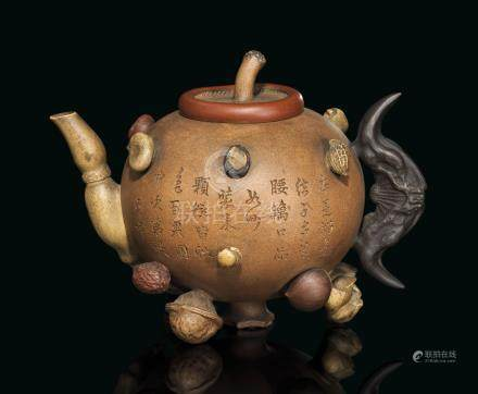 AN YIXING 'HUNDRED-FRUIT' TEAPOT AND COVER