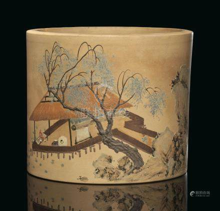 A RARE AND FINELY-PAINTED YIXING BRUSH POT