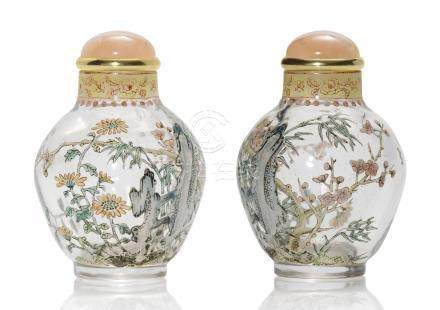 A FAMILLE ROSE ENAMELLED GLASS SNUFF BOTTLE