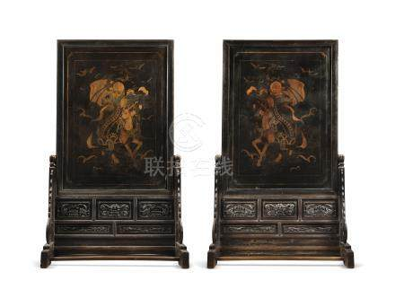 A LARGE PAIR OF GILT-LACQUERED WOOD SCREENS