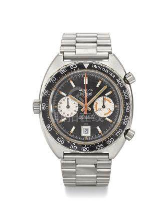 HEUER. AN ATTRACTIVE STAINLESS STEEL TONNEAU-SHAPED AUTOMATIC CHRONOGRAPH WRISTWATCH WITH DATE