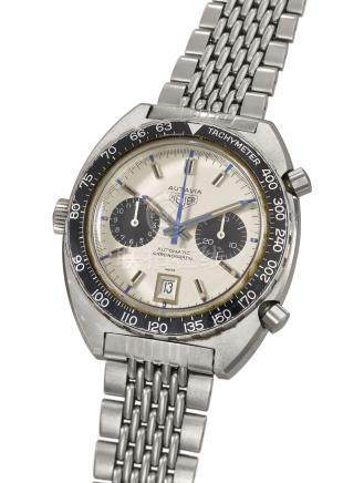 HEUER A FINE STAINLESS STEEL TONNEAU-SHAPED CHRONOGRAPH WRISTWATCH WITH BRACELET AND DATE
