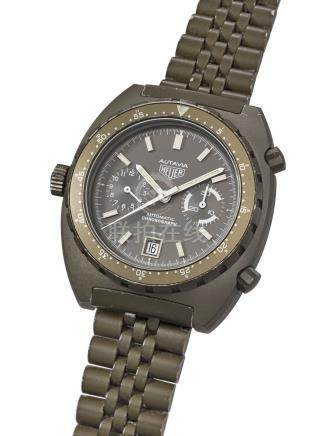 HEUER. A VERY RARE PVD-COATED STAINLESS STEEL AUTOMATIC CHRONOGRAPH WRISTWATCH WITH DATE AND BRACELET