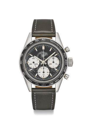 HEUER. A RARE STAINLESS STEEL CHRONOGRAPH WRISTWATCH