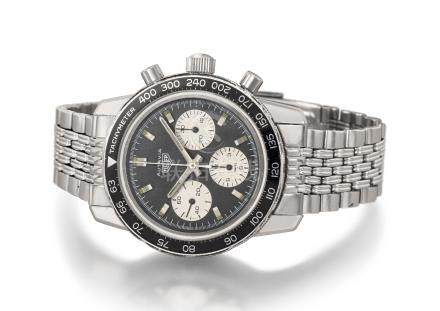 HEUER. A RARE STAINLESS STEEL CHRONOGRAPH WRISTWATCH WITH BRACELET