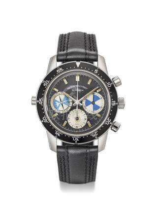 HEUER. A RARE STAINLESS STEEL CHRONOGRAPH WRISTWATCH WITH TIDE INDICATION