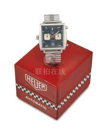 HEUER. A RARE AND LARGE STAINLESS STEEL SQUARE-SHAPED AUTOMATIC CHRONOGRAPH WRISTWATCH WITH DATE, BRACELET AND BOX