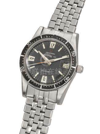 UNIVERSAL. A RARE STAINLESS STEEL AUTOMATIC WRISTWATCH WITH SWEEP CENTRE SECONDS, DATE AND GAY FRERES BRACELET