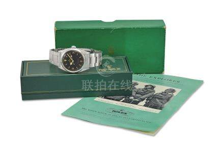 ROLEX. A RARE STAINLESS STEEL AUTOMATIC WRISTWATCH WITH SWEEP CENTRE SECONDS, BRACELET, BROCHURES AND BOX