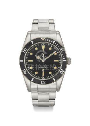 ROLEX. A FINE AND EXTREMLY RARE STAINLESS STEEL AUTOMATIC WRISTWATCH WITH SWEEP CENTRE SECONDS, BLACK GLOSS SWISS UNDERLINE SERVICE DIAL WITH SILVER 100M=330FT DEPTH RATING AND BRACELET