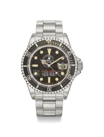 ROLEX. A RARE AND ATTRACTIVE STAINLESS STEEL AUTOMATIC WRISTWATCH WITH SWEEP CENTRE SECONDS, DATE, BRACELET, TROPICAL DIAL AND BEZEL, BLANK GUARANTEE AND BOX