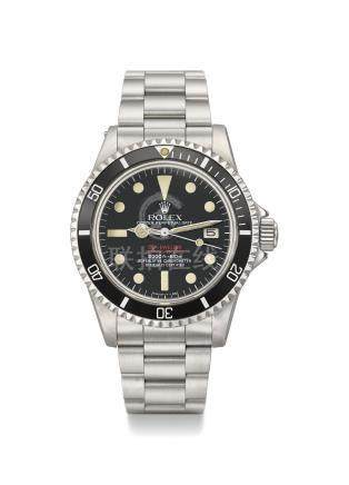 ROLEX. A VERY FINE AND RARE STAINLESS STEEL AUTOMATIC WRISTWATCH WITH SWEEP CENTRE SECONDS, HELIUM GAS ESCAPE VALVE, DATE, BRACELET, BROCHURE AND BOX