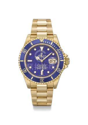 ROLEX. A VERY RARE AND FINE 18K GOLD AUTOMATIC WRISTWATCH WITH LAPIS LAZULI DIAL, DATE, SWEEP CENTRE SECONDS, BRACELET, ADDITIONAL ROLEX PEN WITH BASE, ORIGINAL GUARANTEE AND BOX