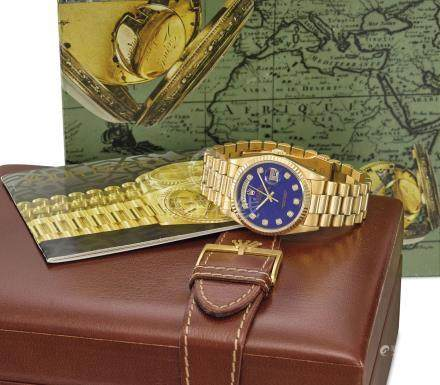 ROLEX. A VERY FINE AND RARE 18K GOLD AUTOMATIC WRISTWATCH WITH SWEEP CENTRE SECONDS, DAY, DATE, LAPIS LAZULI DIAL, BRACELET AND PRESENTATION BOX