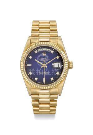 """Rolex. A very fine and rare 18K gold and diamond-set automatic wristwatch with sweep centre seconds, day, date, bracelet, blue """"dégradé dial"""", display clip and box"""