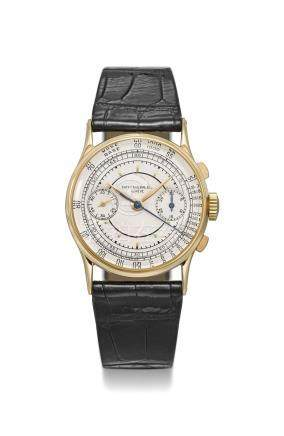 PATEK PHILIPPE. A VERY FINE AND RARE 18K GOLD CHRONOGRAPH WRISTWATCH WITH SECTOR DIAL