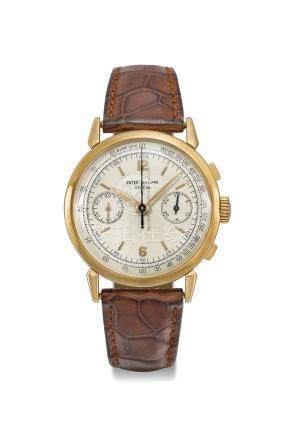 Patek Philippe. A fine and rare 18K pink gold chronograph wristwatch