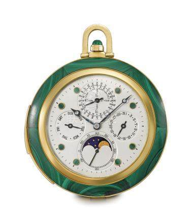 Cartier/Audemars Piguet. A unique and exceptional 18K gold and malachite minute repeating perpetual calendar keyless lever watch moon phases, hinged stand and Cartier duplicate of the original invoice
