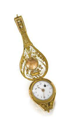 Swiss. A small and very attractive filigree 18K gold, enamel and pearl-set mandolin form watch with concealed dial and original fitted box