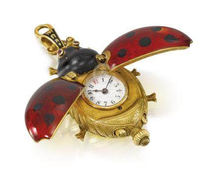 Swiss. A fine, very rare and attractive gold and enamel keyless cylinder pendant watch in the form of a ladybird with concealed dial