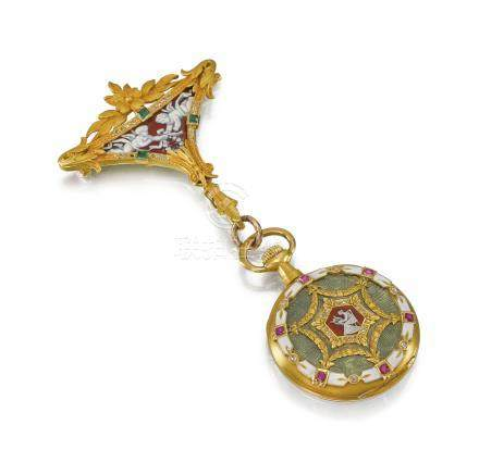 Swiss, attributed to Paul Ditisheim. A very fine and highly attractive 18K gold, enamel, ruby and diamond-set keyless lever pendant watch with detachable gold, enamel, emerald and diamond-set brooch and fitted box, made for the Indian Market
