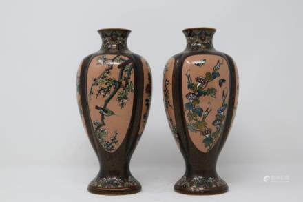 A Japanese pair of Bronze vase