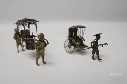 Set of TWO Japanese silver rickshaw display