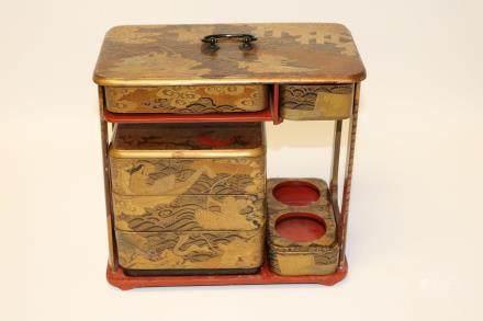 A miniature lacquer cabinet