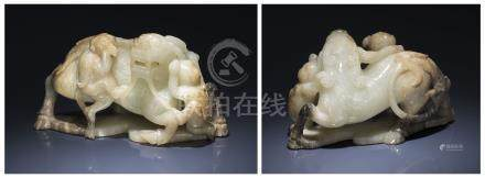 A GREENISH-WHITE AND GREY JADE 'MYTHICAL BEAST AND BOYS' GROUP