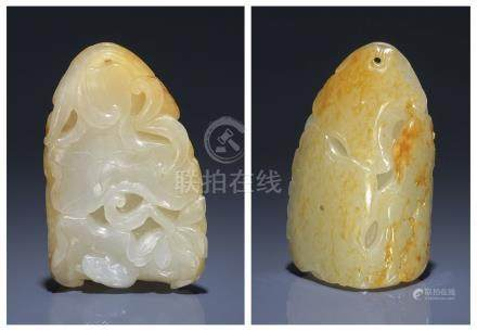A WHITE AND RUSSET JADE 'FROG AND LOTUS' CARVING