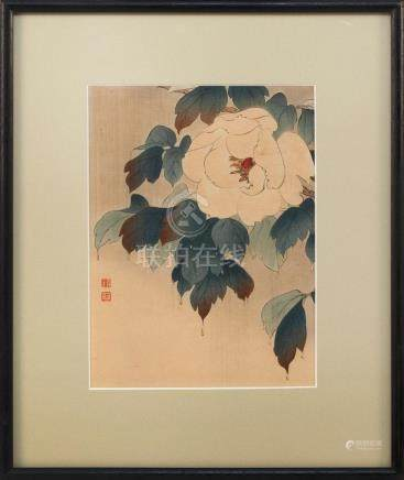 JAPANESE WOODBLOCK PRINT Peony. Stamped upper right. Framed